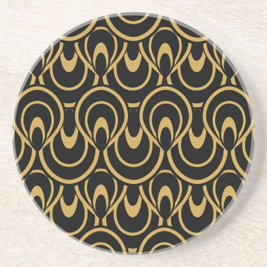 Elegant Black & Gold Art Deco Design Coaster