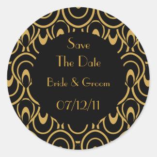Elegant Black & Gold Art Deco Save The Date Seals Round Sticker