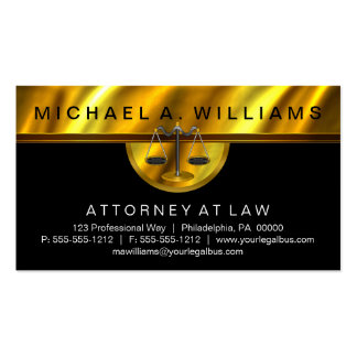 Elegant Black Gold Attorney at Law Legal Business Business Card