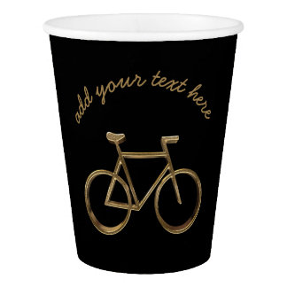 Elegant Black Gold Bike Bicycle Cycling Cyclist Paper Cup