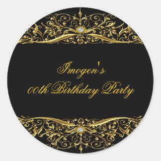 Elegant Black & Gold Birthday Sticker Round Stickers