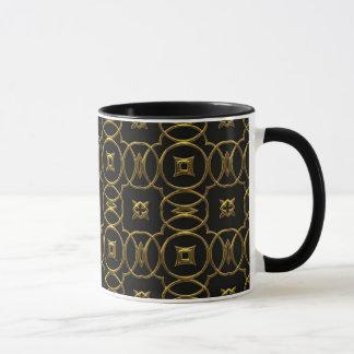 Elegant Black & Gold Circles & Diamonds Coffee Mug