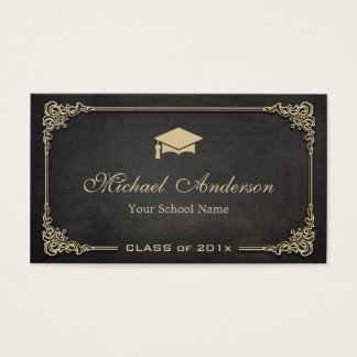 Elegant Black Gold Class of Graduate Student Business Card