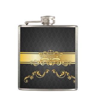 Elegant Black & Gold Damask Pattern Print Design Hip Flask
