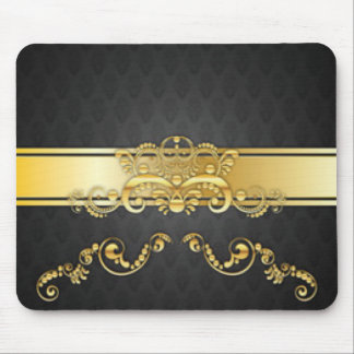 Elegant Black & Gold Damask Pattern Print Design Mouse Pad