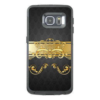 Elegant Black & Gold Damask Pattern Print Design OtterBox Samsung Galaxy S6 Edge Case