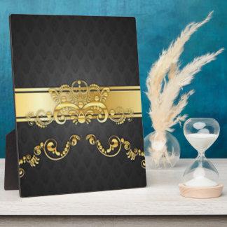 Elegant Black & Gold Damask Pattern Print Design Plaque