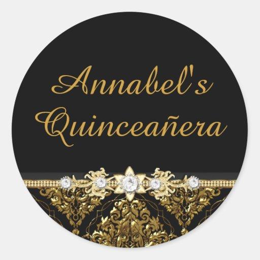 Elegant Black & Gold Damask Quinceanera Sticker