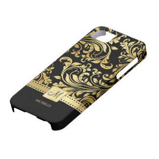Elegant Black & Gold Damask with Monogram iPhone 5 Cases