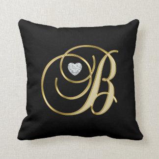 Elegant Black Gold Design Monogram Letter 'B ' Throw Pillow