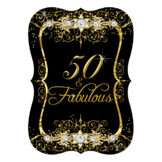 Elegant Black Gold Diamond 50 & Fabulous Invite