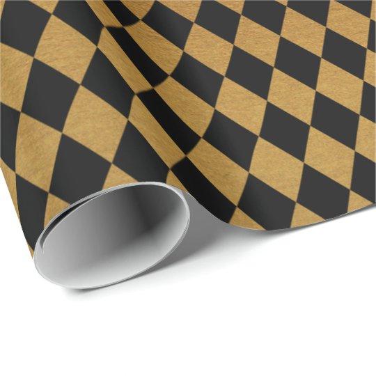 Elegant black gold diamond pattern party wrap
