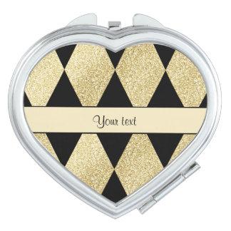 Elegant Black & Gold Diamonds Compact Mirror