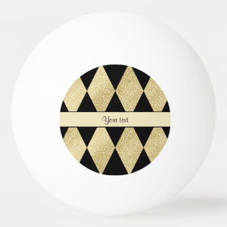 Elegant Black & Gold Diamonds Ping Pong Ball