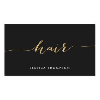 Elegant black gold faux glitter salon hair stylist business card
