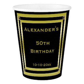 Elegant Black & Gold Framed Man's 50th Birthday Paper Cup