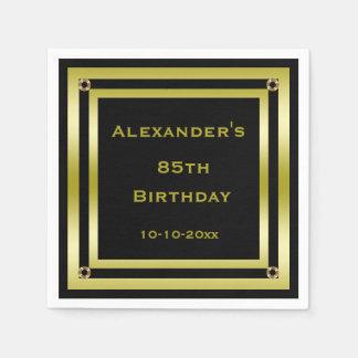 Elegant Black & Gold Framed Man's 85th Birthday Disposable Napkins