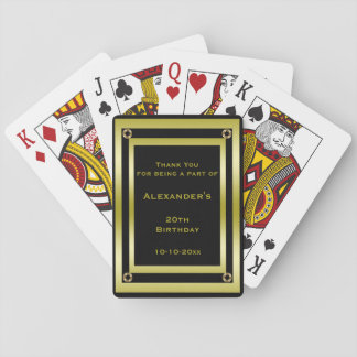 Elegant Black & Gold Framed Thank You Playing Cards