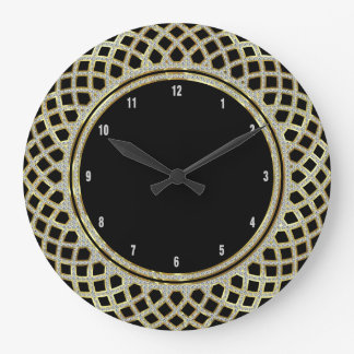 Elegant Black Gold & Glitter Geometric Pattern Large Clock
