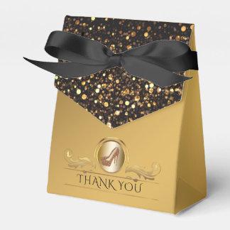 Elegant Black Gold Glitter High Heel Shoes Favor Box