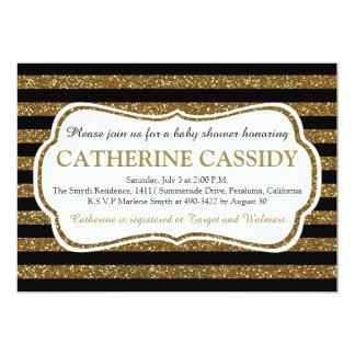 "Elegant Black & Gold Glitter Stripes Baby Shower 5"" X 7"" Invitation Card"