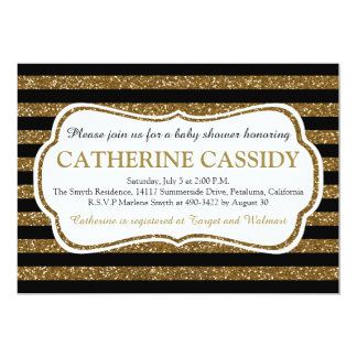 Elegant Black & Gold Glitter Stripes Baby Shower Card