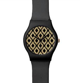 Elegant Black Gold Glitter Tribal Pattern Watch