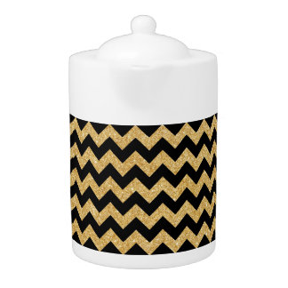 Elegant Black Gold Glitter Zigzag Chevron Pattern