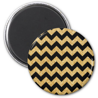 Elegant Black Gold Glitter Zigzag Chevron Pattern 2 Inch Round Magnet