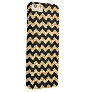 Elegant Black Gold Glitter Zigzag Chevron Pattern Barely There iPhone 6 Plus Case