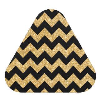 Elegant Black Gold Glitter Zigzag Chevron Pattern Blueooth Speaker
