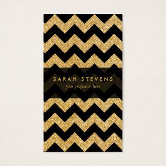 Elegant Black Gold Glitter Zigzag Chevron Pattern Business Card