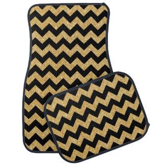 Elegant Black Gold Glitter Zigzag Chevron Pattern Car Carpet