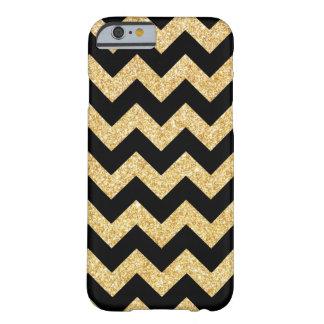 Elegant Black Gold Glitter Zigzag Chevron Pattern Barely There iPhone 6 Case