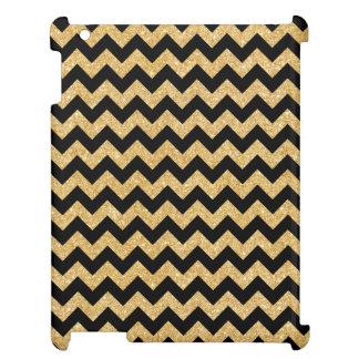 Elegant Black Gold Glitter Zigzag Chevron Pattern Case For The iPad