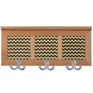Elegant Black Gold Glitter Zigzag Chevron Pattern Coat Racks