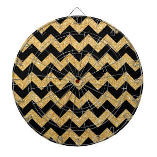 Elegant Black Gold Glitter Zigzag Chevron Pattern Dartboard With Darts