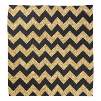 Elegant Black Gold Glitter Zigzag Chevron Pattern Do-rag