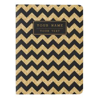 Elegant Black Gold Glitter Zigzag Chevron Pattern Extra Large Moleskine Notebook