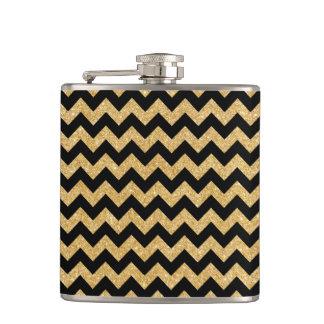 Elegant Black Gold Glitter Zigzag Chevron Pattern Flasks