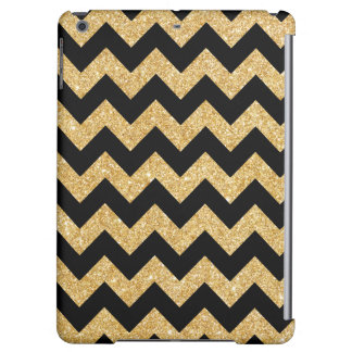 Elegant Black Gold Glitter Zigzag Chevron Pattern iPad Air Cases