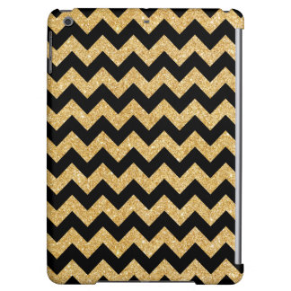 Elegant Black Gold Glitter Zigzag Chevron Pattern iPad Air Cover