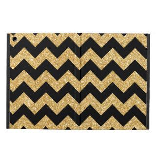 Elegant Black Gold Glitter Zigzag Chevron Pattern iPad Air Covers