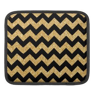 Elegant Black Gold Glitter Zigzag Chevron Pattern iPad Sleeve