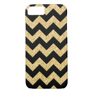 Elegant Black Gold Glitter Zigzag Chevron Pattern iPhone 7 Case