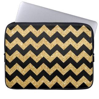 Elegant Black Gold Glitter Zigzag Chevron Pattern Laptop Computer Sleeve