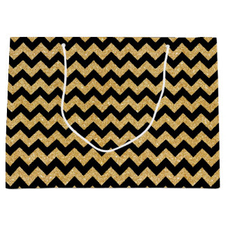 Elegant Black Gold Glitter Zigzag Chevron Pattern Large Gift Bag
