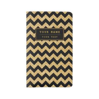 Elegant Black Gold Glitter Zigzag Chevron Pattern Large Moleskine Notebook