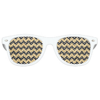Elegant Black Gold Glitter Zigzag Chevron Pattern Party Shades