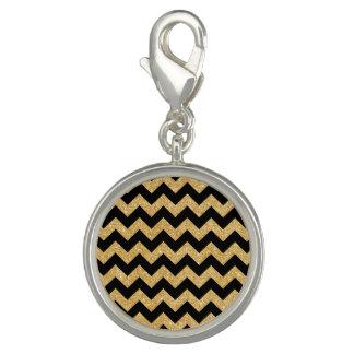 Elegant Black Gold Glitter Zigzag Chevron Pattern Photo Charms
